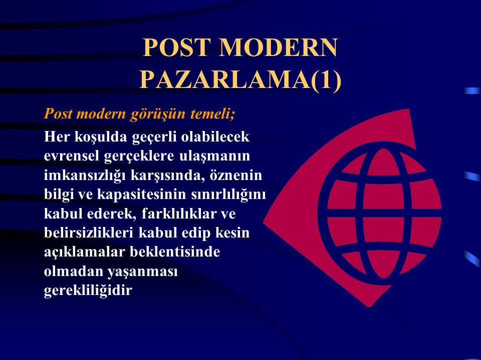 POST MODERN PAZARLAMA(1) Post modern görüşün temeli; Her koşulda geçerli olabilecek evrensel gerçeklere ulaşmanın imkansızlığı karşısında, öznenin bil