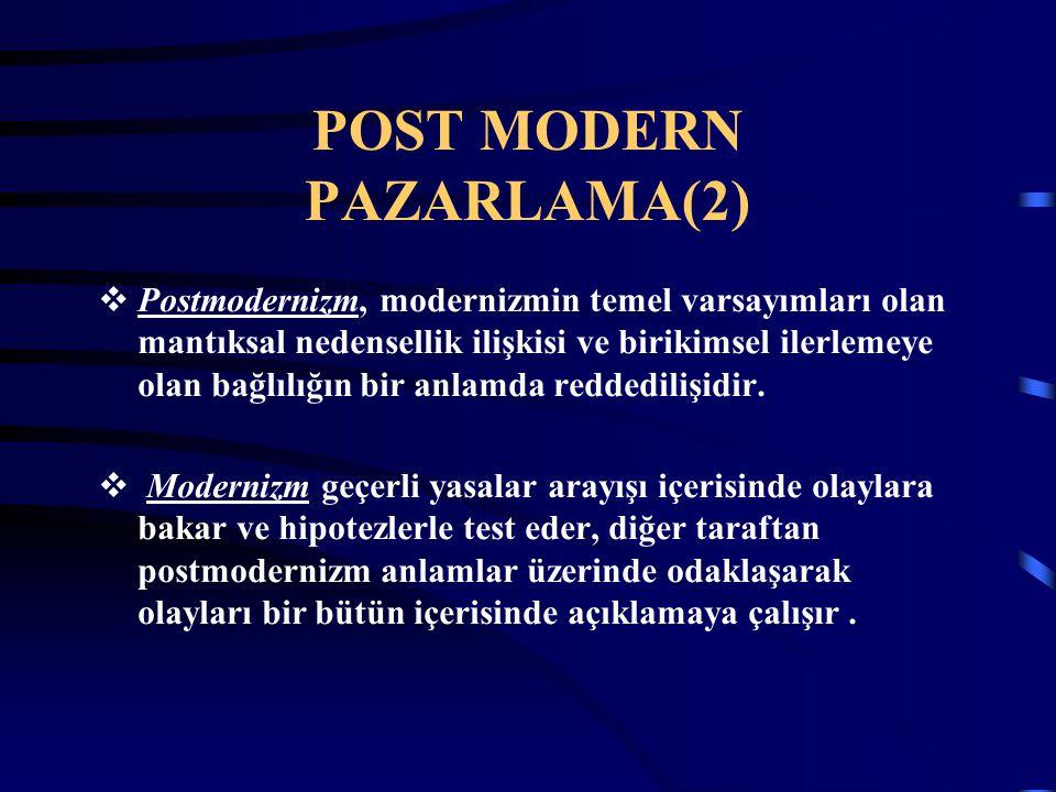 POST MODERN PAZARLAMA(2)  Postmodernizm, modernizmin temel varsayımları olan mantıksal nedensellik ilişkisi ve birikimsel ilerlemeye olan bağlılığın