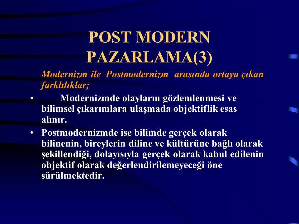 POST MODERN PAZARLAMA(3) Modernizm ile Postmodernizm arasında ortaya çıkan farklılıklar; Modernizmde olayların gözlemlenmesi ve bilimsel çıkarımlara u