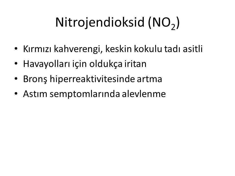 Nitrojendioksid (NO 2 ) Kırmızı kahverengi, keskin kokulu tadı asitli Havayolları için oldukça iritan Bronş hiperreaktivitesinde artma Astım semptomla