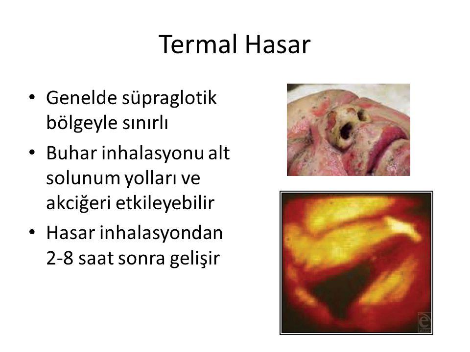 Termal Hasar Genelde süpraglotik bölgeyle sınırlı Buhar inhalasyonu alt solunum yolları ve akciğeri etkileyebilir Hasar inhalasyondan 2-8 saat sonra g