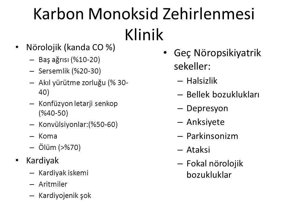 Karbon Monoksid Zehirlenmesi Klinik Nörolojik (kanda CO %) – Baş ağrısı (%10-20) – Sersemlik (%20-30) – Akıl yürütme zorluğu (% 30- 40) – Konfüzyon le