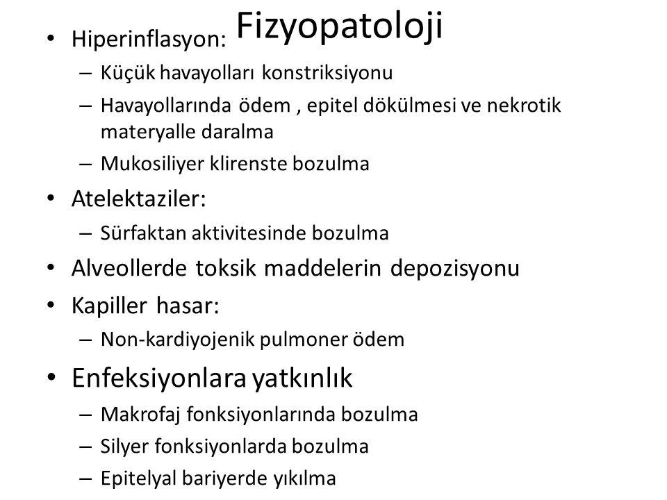 Fizyopatoloji Hiperinflasyon: – Küçük havayolları konstriksiyonu – Havayollarında ödem, epitel dökülmesi ve nekrotik materyalle daralma – Mukosiliyer