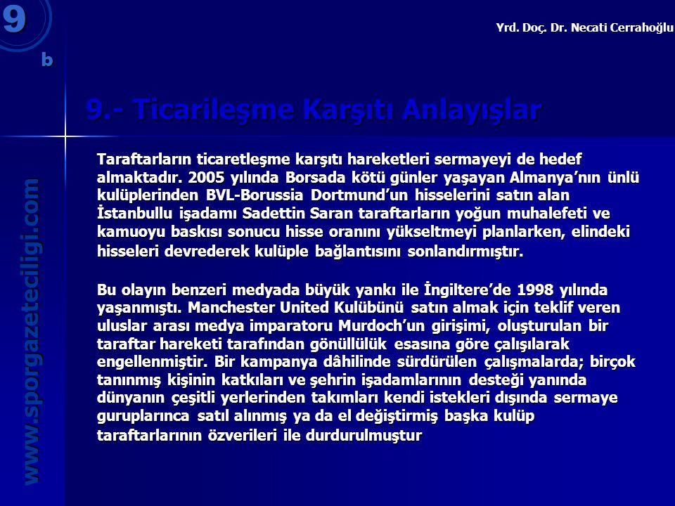9.- Ticarileşme Karşıtı Anlayışlar 9 www.sporgazeteciligi.com Yrd. Doç. Dr. Necati Cerrahoğlu b Taraftarların ticaretleşme karşıtı hareketleri sermaye