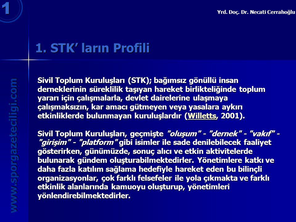 1. STK' ların Profili 1 www.sporgazeteciligi.com Yrd. Doç. Dr. Necati Cerrahoğlu Sivil Toplum Kuruluşları (STK); bağımsız gönüllü insan derneklerinin