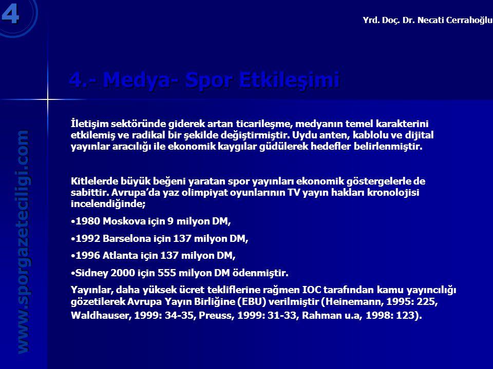 4.- Medya- Spor Etkileşimi 4.- Medya- Spor Etkileşimi 4 www.sporgazeteciligi.com Yrd. Doç. Dr. Necati Cerrahoğlu İletişim sektöründe giderek artan tic