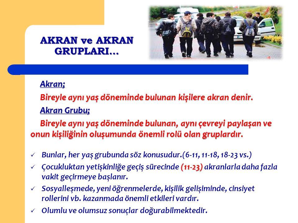 AKRAN ve AKRAN GRUPLARI… Akran; Akran; Bireyle aynı yaş döneminde bulunan kişilere akran denir. Bireyle aynı yaş döneminde bulunan kişilere akran deni