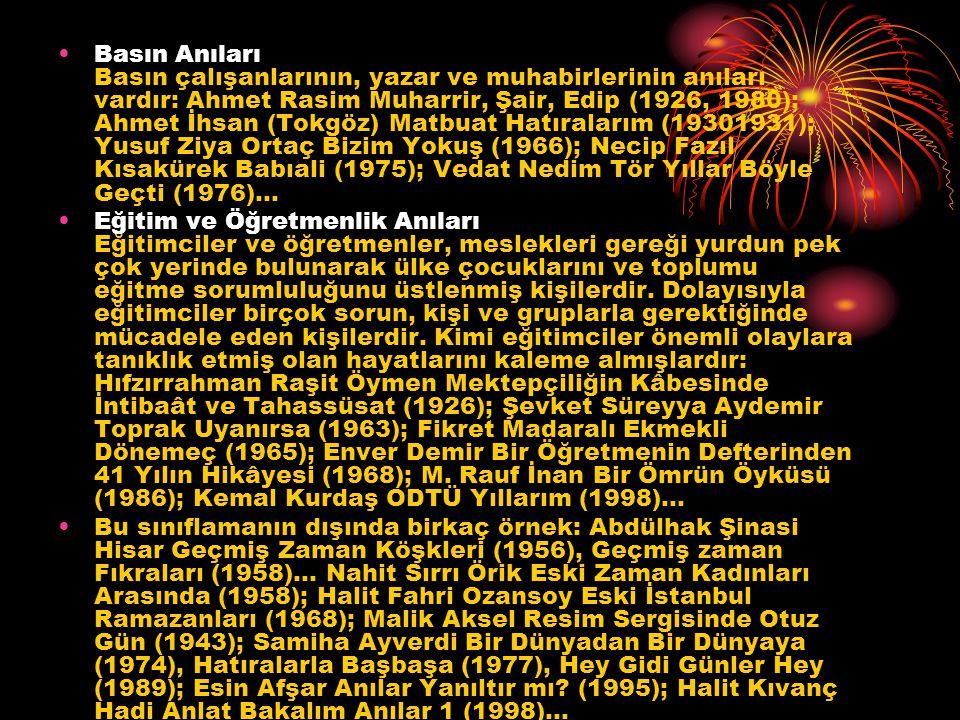 Basın Anıları Basın çalışanlarının, yazar ve muhabirlerinin anıları vardır: Ahmet Rasim Muharrir, Şair, Edip (1926, 1980); Ahmet İhsan (Tokgöz) Matbua