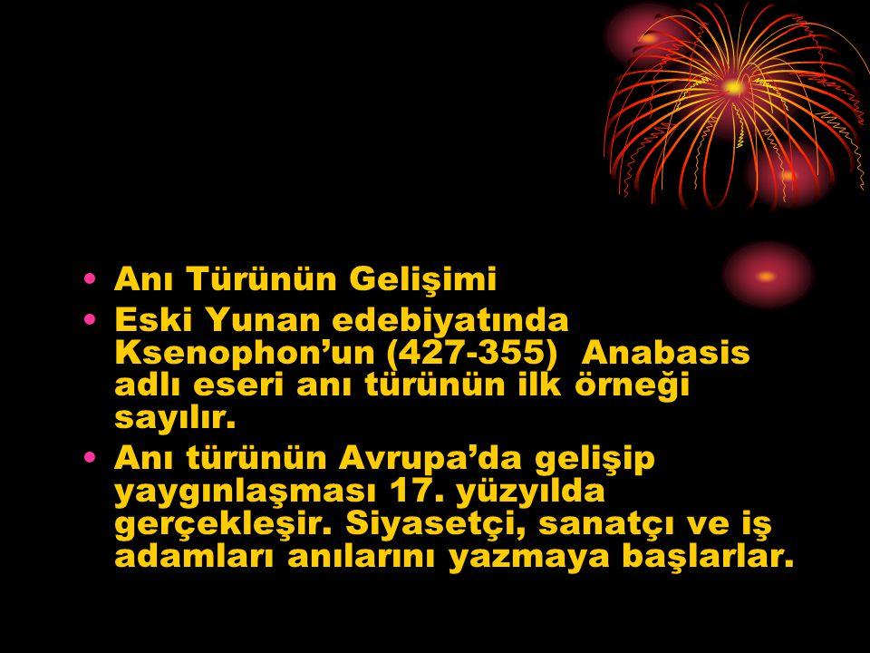 Anı ile Gezi Yazısı Arasındaki Fark Gezi yazılarında önemli olan, gezip görülen yerlerin anlatılmasıdır.