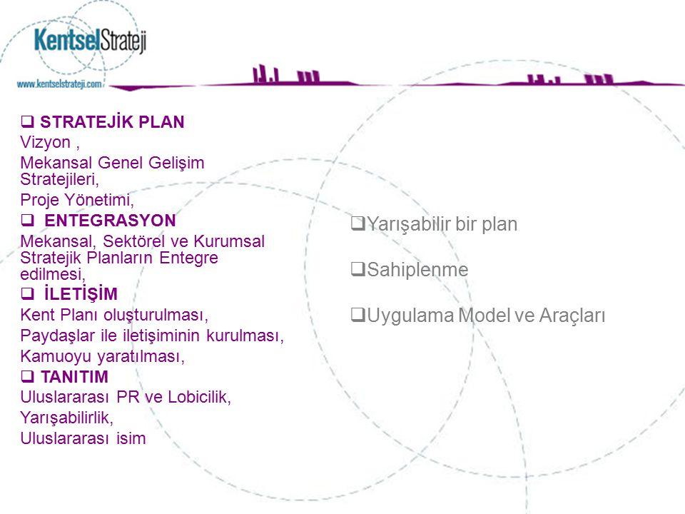  STRATEJİK PLAN Vizyon, Mekansal Genel Gelişim Stratejileri, Proje Yönetimi,  ENTEGRASYON Mekansal, Sektörel ve Kurumsal Stratejik Planların Entegre