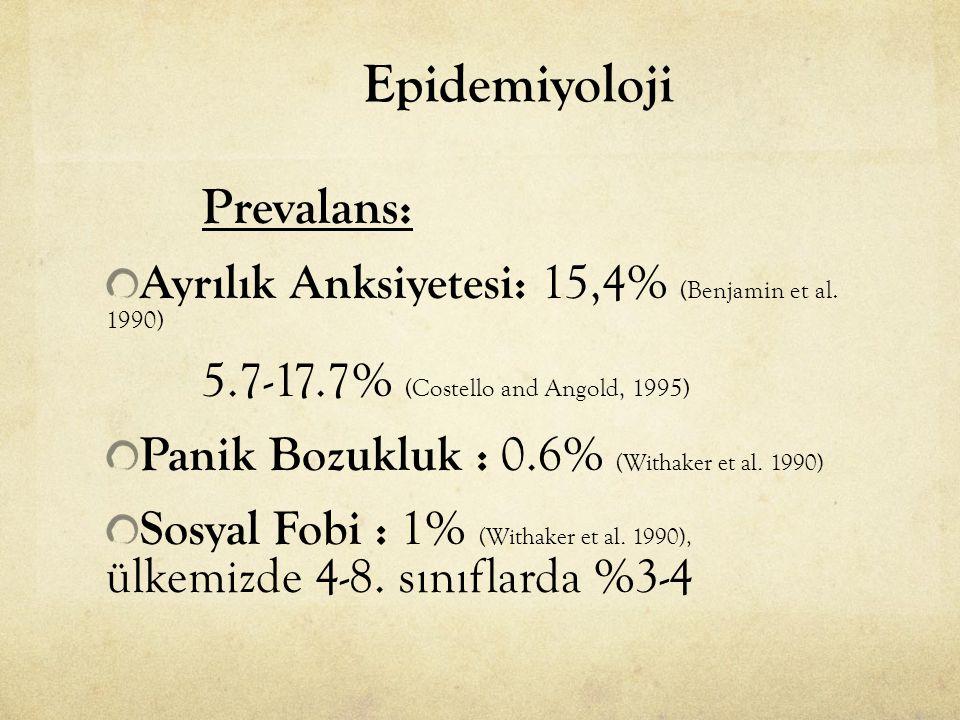 Epidemiyoloji Prevalans: Ayrılık Anksiyetesi: 15,4% (Benjamin et al. 1990) 5.7-17.7% (Costello and Angold, 1995) Panik Bozukluk : 0.6% (Withaker et al