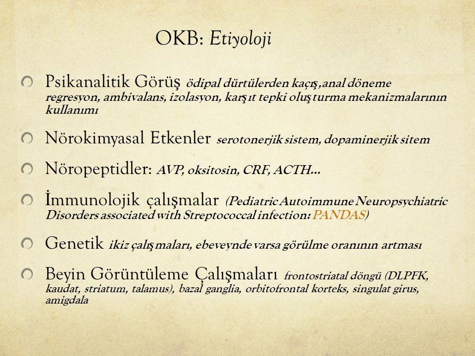 OKB: Etiyoloji Psikanalitik Görü ş ödipal dürtülerden kaçı ş,anal döneme regresyon, ambivalans, izolasyon, kar ş ıt tepki olu ş turma mekanizmalarının