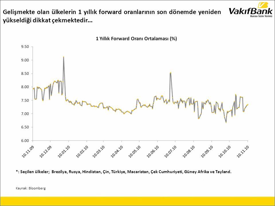 Gelişmekte olan ülkelerin 1 yıllık forward oranlarının son dönemde yeniden yükseldiği dikkat çekmektedir...