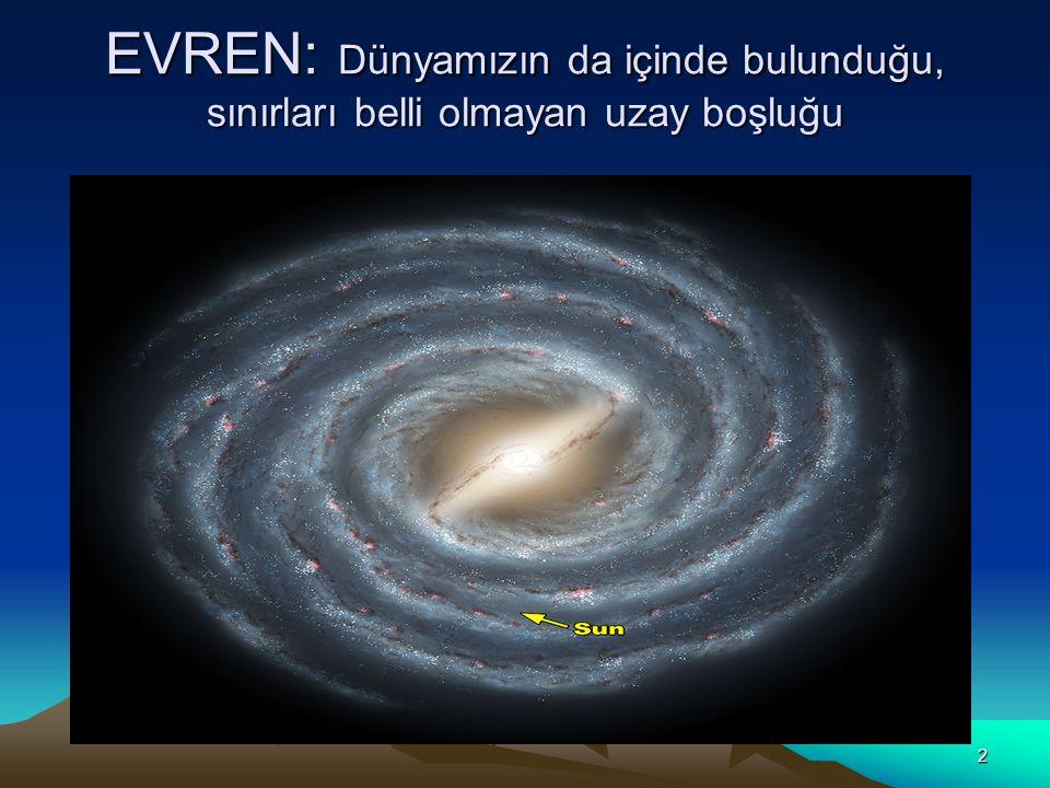 2 EVREN: Dünyamızın da içinde bulunduğu, sınırları belli olmayan uzay boşluğu