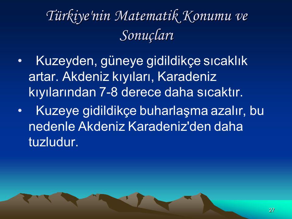 26 Türkiye'nin Matematik Konumu ve Sonuçları Kuzeye gidildikçe gece - gündüz arasındaki zaman farkı artar ve cisimlerin gölge boyları uzar. Kuzeyden e