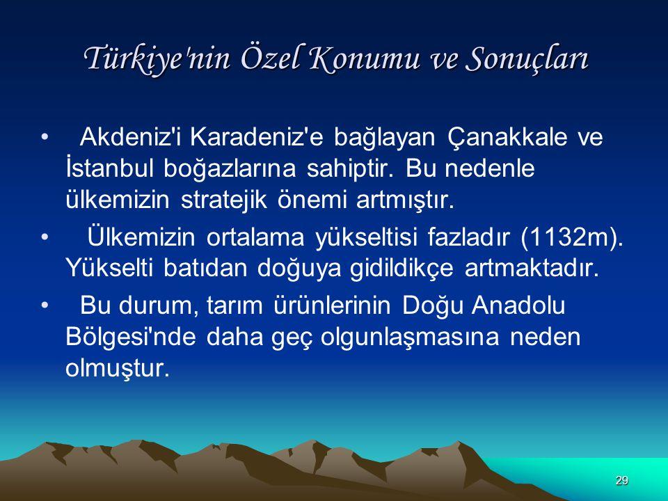 28 Türkiye'nin Özel Konumu ve Sonuçları Ülkemiz Asya, Avrupa ve Afrika kıtalarının birbirine en çok yaklaştığı yerde bulunur. Tarih boyunca ipek ve ba