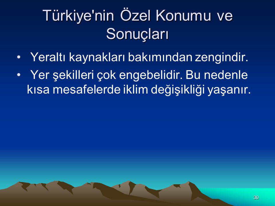 29 Türkiye'nin Özel Konumu ve Sonuçları Akdeniz'i Karadeniz'e bağlayan Çanakkale ve İstanbul boğazlarına sahiptir. Bu nedenle ülkemizin stratejik önem