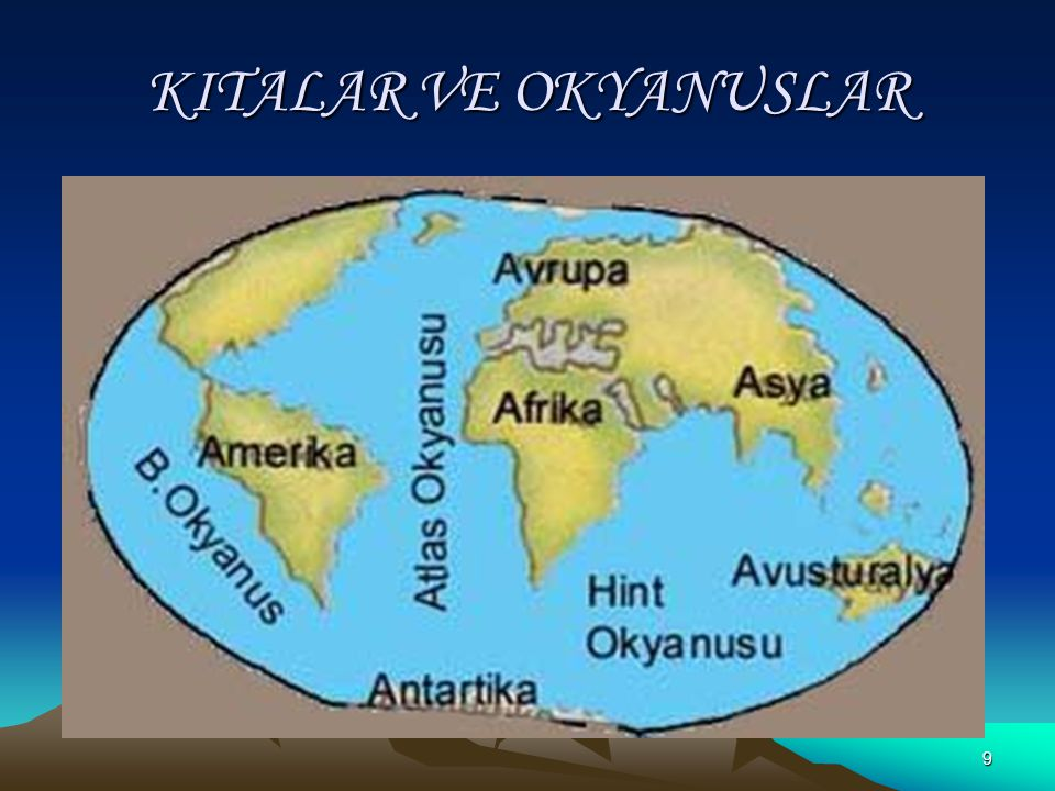 19 KITALAR Asya, Avrupa ve Afrika kıtalarına eski dünya karaları adı verilir.