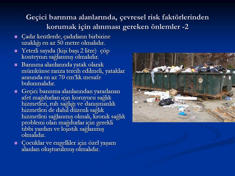 Sonuç -2 Sonuç -2 Afetlere hazırlıksız yakalanmamak ve çevresel risklere bağlı afet hasarının artmasını engellemek adına, yapılan afet planlarında; Afetlere hazırlıksız yakalanmamak ve çevresel risklere bağlı afet hasarının artmasını engellemek adına, yapılan afet planlarında; afet mağdurları için uygun geçici barınma alanları, afet mağdurları için uygun geçici barınma alanları, yeterli miktarda temiz suyun sağlanması, yeterli miktarda temiz suyun sağlanması, insan atıklarının zararlaştırılması, bulaşıcı hastalıklar için önlemlerin alınması ve insan atıklarının zararlaştırılması, bulaşıcı hastalıklar için önlemlerin alınması ve afetin getirebileceği diğer özel çevre risklerinin kontrol altında tutulmasına yönelik eylemler yer almalıdır.