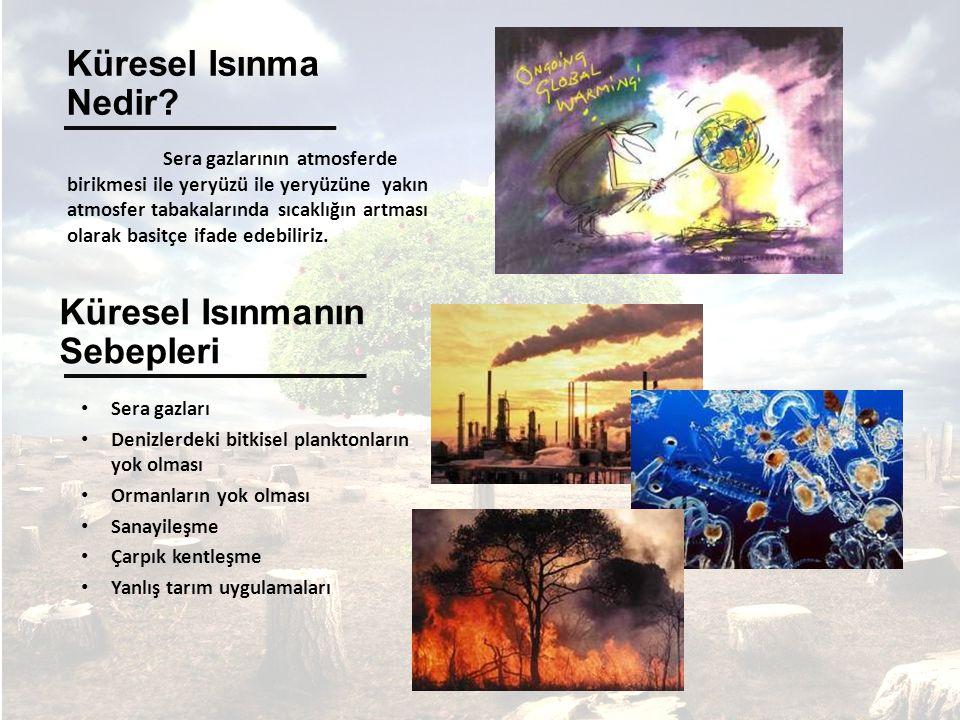 Sera gazlarının atmosferde birikmesi ile yeryüzü ile yeryüzüne yakın atmosfer tabakalarında sıcaklığın artması olarak basitçe ifade edebiliriz.