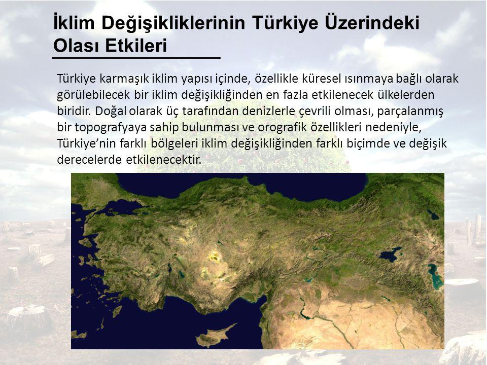Türkiye karmaşık iklim yapısı içinde, özellikle küresel ısınmaya bağlı olarak görülebilecek bir iklim değişikliğinden en fazla etkilenecek ülkelerden