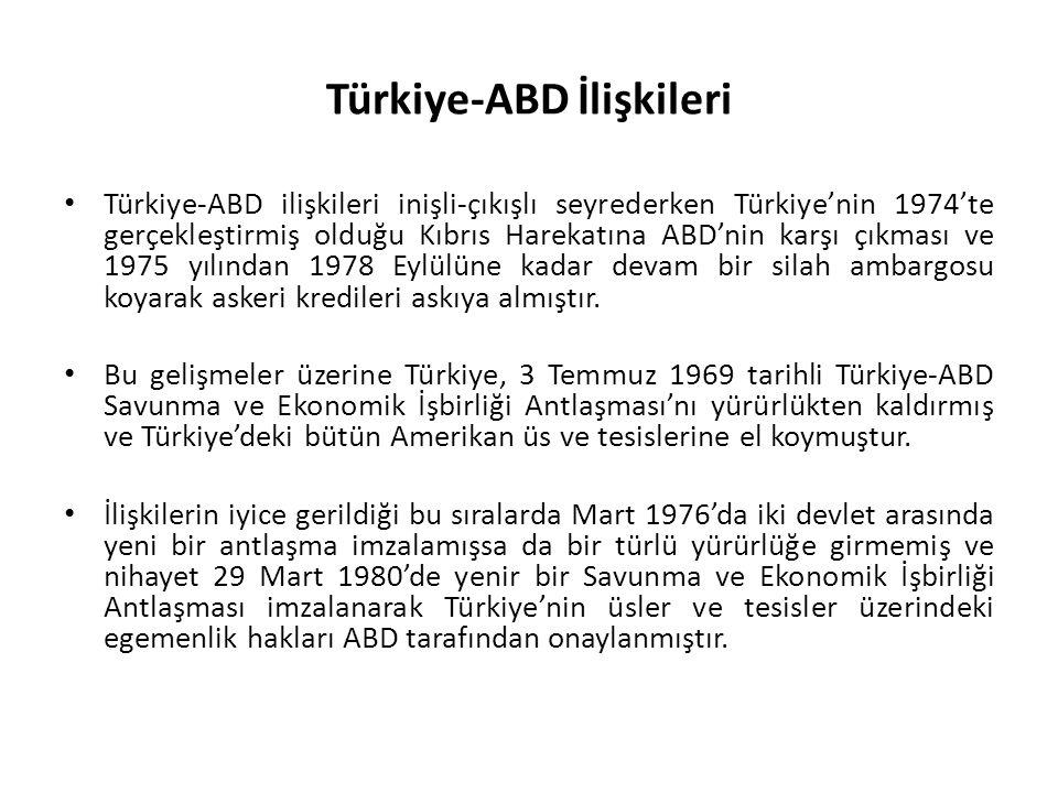 Türkiye-ABD İlişkileri Türkiye-ABD ilişkileri inişli-çıkışlı seyrederken Türkiye'nin 1974'te gerçekleştirmiş olduğu Kıbrıs Harekatına ABD'nin karşı çıkması ve 1975 yılından 1978 Eylülüne kadar devam bir silah ambargosu koyarak askeri kredileri askıya almıştır.