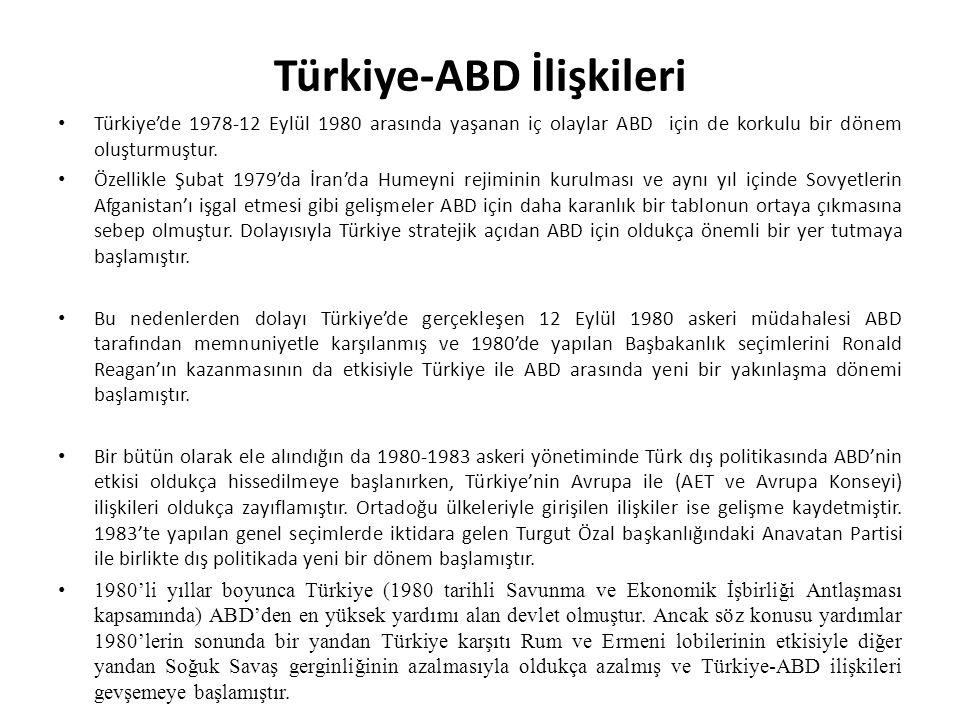 Türkiye-ABD İlişkileri Türkiye'de 1978-12 Eylül 1980 arasında yaşanan iç olaylar ABD için de korkulu bir dönem oluşturmuştur. Özellikle Şubat 1979'da
