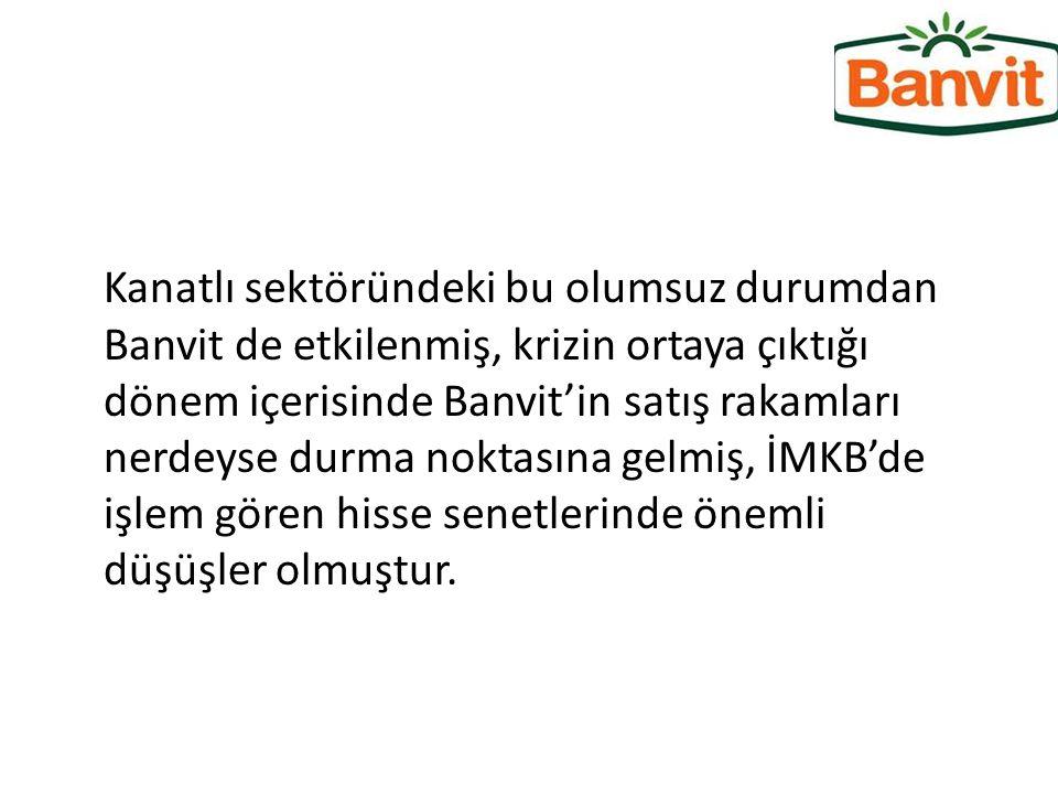 Kanatlı sektöründeki bu olumsuz durumdan Banvit de etkilenmiş, krizin ortaya çıktığı dönem içerisinde Banvit'in satış rakamları nerdeyse durma noktası