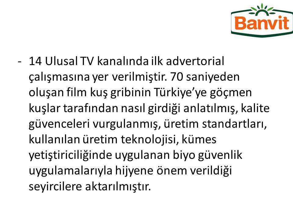 -14 Ulusal TV kanalında ilk advertorial çalışmasına yer verilmiştir. 70 saniyeden oluşan film kuş gribinin Türkiye'ye göçmen kuşlar tarafından nasıl g