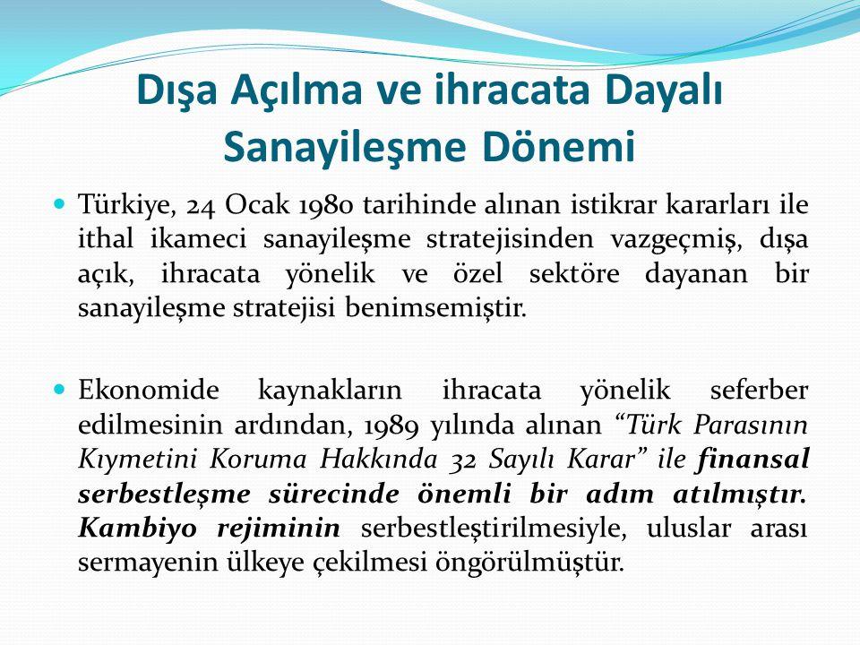 Dışa Açılma ve ihracata Dayalı Sanayileşme Dönemi Türkiye, 24 Ocak 1980 tarihinde alınan istikrar kararları ile ithal ikameci sanayileşme stratejisind