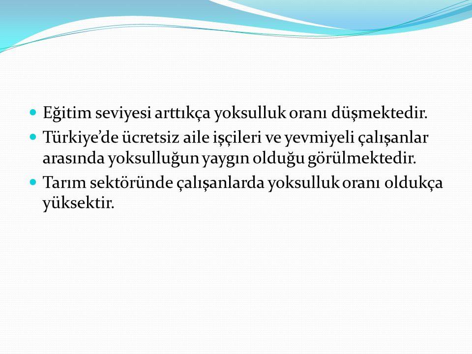 Eğitim seviyesi arttıkça yoksulluk oranı düşmektedir. Türkiye'de ücretsiz aile işçileri ve yevmiyeli çalışanlar arasında yoksulluğun yaygın olduğu gör