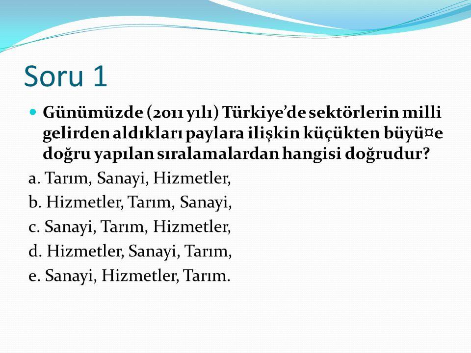 Soru 1 Günümüzde (2011 yılı) Türkiye'de sektörlerin milli gelirden aldıkları paylara ilişkin küçükten büyü¤e doğru yapılan sıralamalardan hangisi doğr