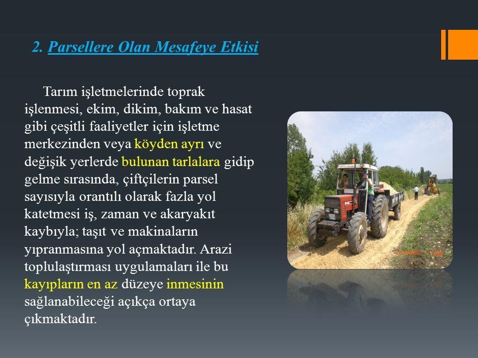 2. Parsellere Olan Mesafeye Etkisi Tarım işletmelerinde toprak işlenmesi, ekim, dikim, bakım ve hasat gibi çeşitli faaliyetler için işletme merkezinde