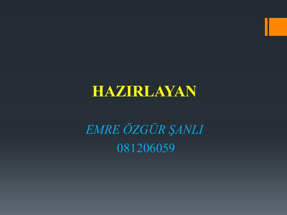 HAZIRLAYAN EMRE ÖZGÜR ŞANLI 081206059