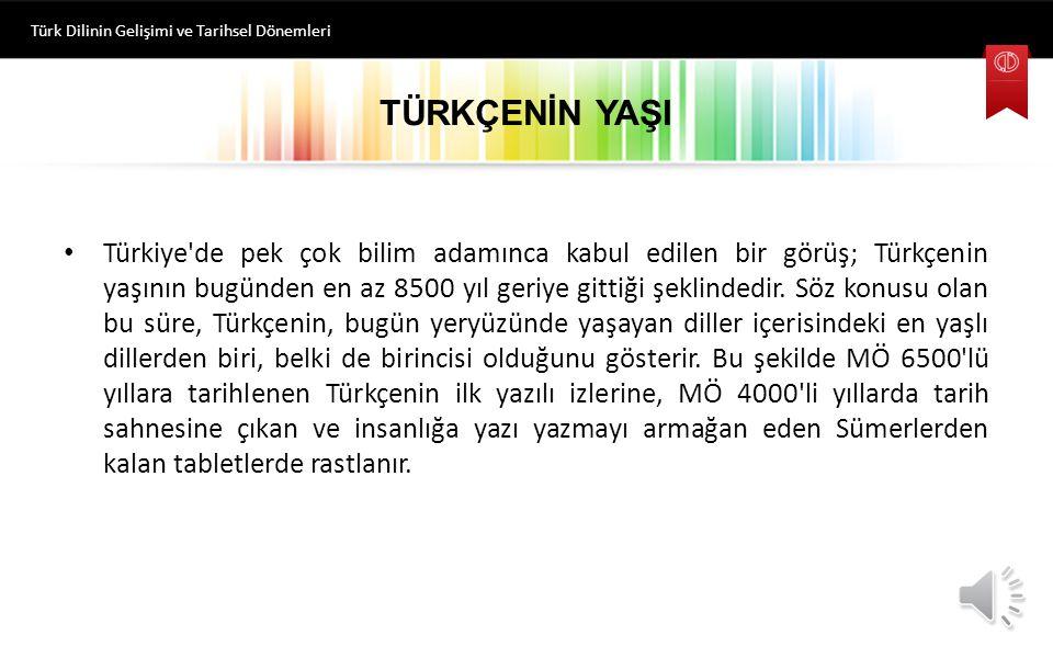 Türkiye de pek çok bilim adamınca kabul edilen bir görüş; Türkçenin yaşının bugünden en az 8500 yıl geriye gittiği şeklindedir.