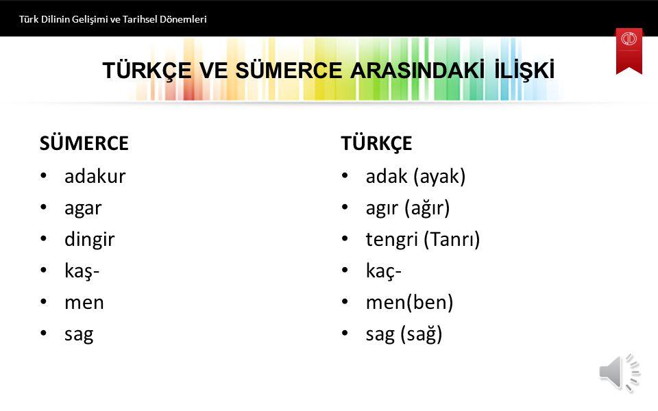 TÜRKÇE VE SÜMERCE ARASINDAKİ İLİŞKİ Türk Dilinin Gelişimi ve Tarihsel Dönemleri SÜMERCE adakur agar dingir kaş- men sag TÜRKÇE adak (ayak) agır (ağır) tengri (Tanrı) kaç- men(ben) sag (sağ)