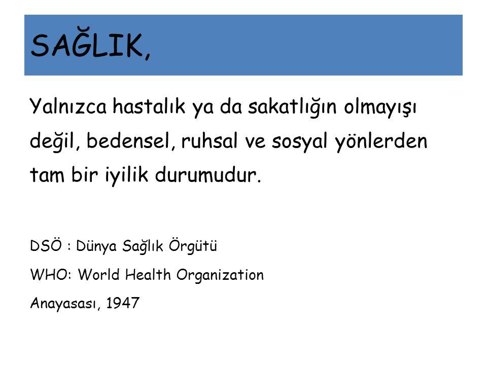 SAĞLIK, Yalnızca hastalık ya da sakatlığın olmayışı değil, bedensel, ruhsal ve sosyal yönlerden tam bir iyilik durumudur. DSÖ : Dünya Sağlık Örgütü WH