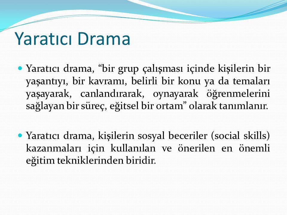 """Yaratıcı Drama Yaratıcı drama, """"bir grup çalışması içinde kişilerin bir yaşantıyı, bir kavramı, belirli bir konu ya da temaları yaşayarak, canlandırar"""