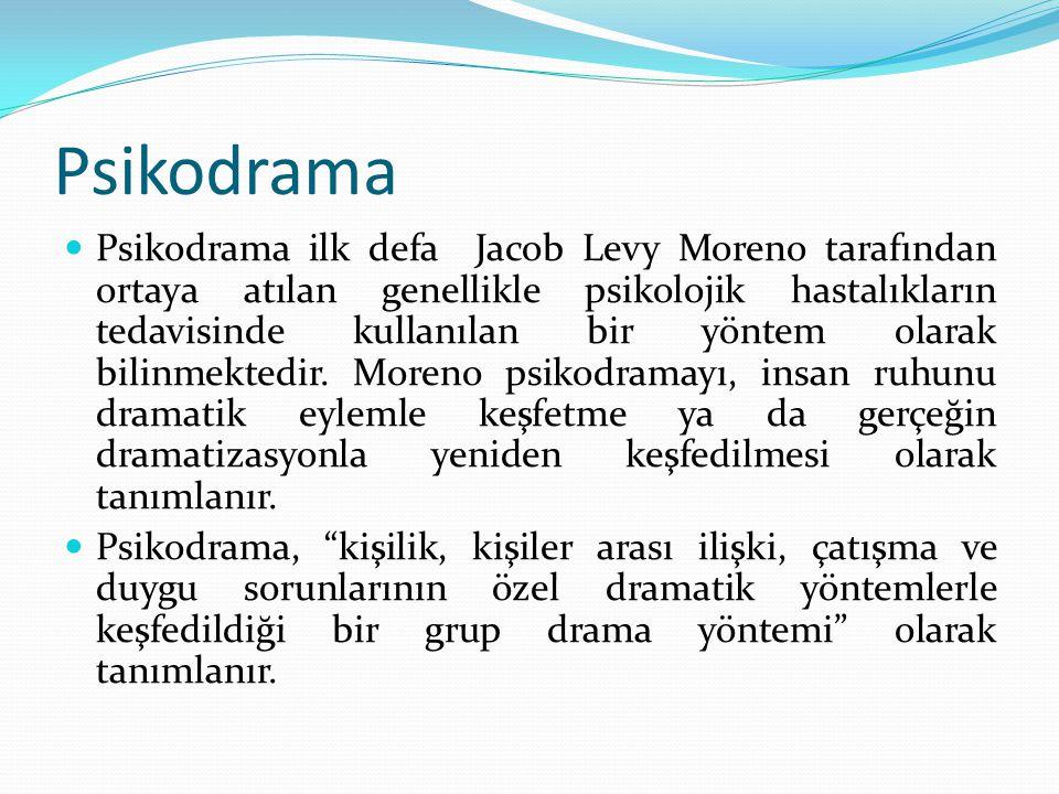 Psikodrama Psikodrama ilk defa Jacob Levy Moreno tarafından ortaya atılan genellikle psikolojik hastalıkların tedavisinde kullanılan bir yöntem olarak