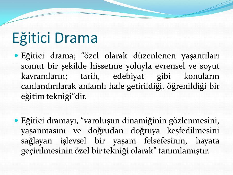 """Eğitici Drama Eğitici drama; """"özel olarak düzenlenen yaşantıları somut bir şekilde hissetme yoluyla evrensel ve soyut kavramların; tarih, edebiyat gib"""