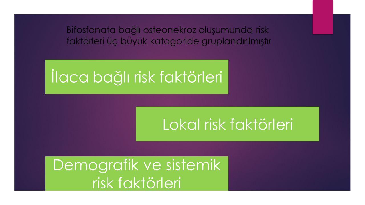 Bifosfonata bağlı osteonekroz oluşumunda risk faktörleri üç büyük katagoride gruplandırılmıştır İlaca bağlı risk faktörleri Lokal risk faktörleri Demografik ve sistemik risk faktörleri