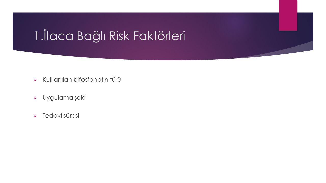 1.İlaca Bağlı Risk Faktörleri  Kulllanılan bifosfonatın türü  Uygulama şekli  Tedavi süresi