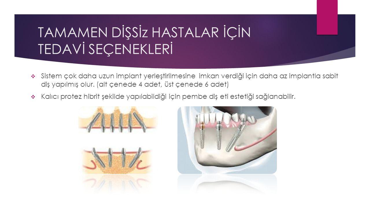 TAMAMEN DİŞSİz HASTALAR İÇİN TEDAVİ SEÇENEKLERİ  Sistem çok daha uzun implant yerleştirilmesine imkan verdiği için daha az implantla sabit diş yapılm