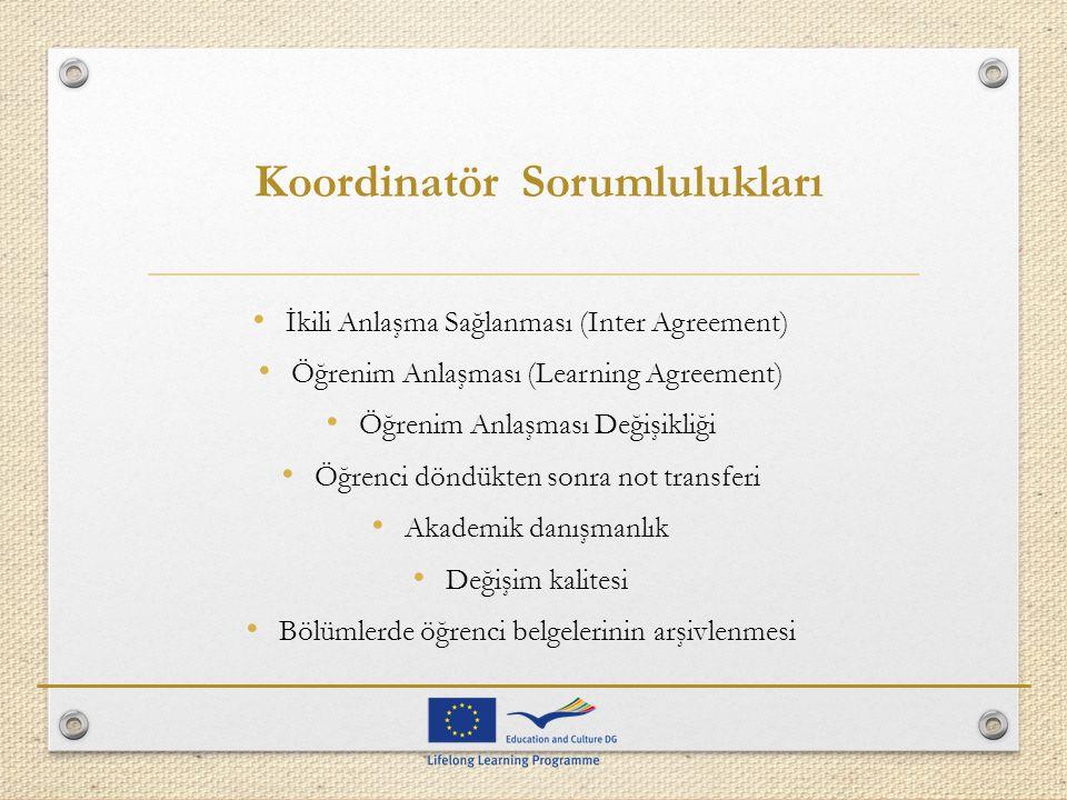 Koordinatör Sorumlulukları İkili Anlaşma Sağlanması (Inter Agreement) Öğrenim Anlaşması (Learning Agreement) Öğrenim Anlaşması Değişikliği Öğrenci dön