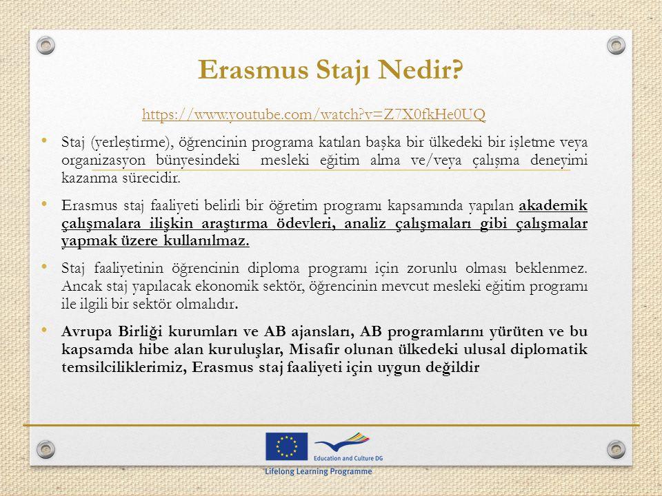 Erasmus Stajı Nedir? https://www.youtube.com/watch?v=Z7X0fkHe0UQ Staj (yerleştirme), öğrencinin programa katılan başka bir ülkedeki bir işletme veya o