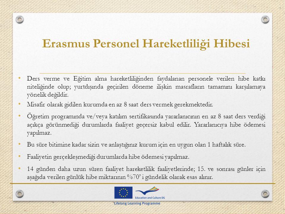 Erasmus Personel Hareketliliği Hibesi Ders verme ve Eğitim alma hareketliliğinden faydalanan personele verilen hibe katkı niteliğinde olup; yurtdışınd