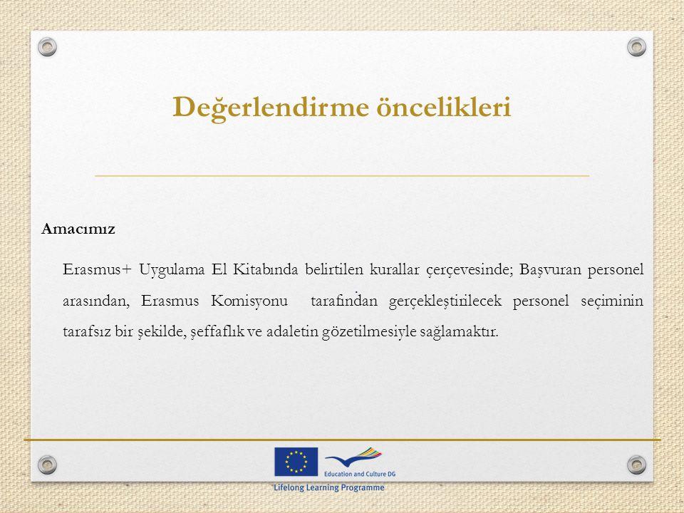 Değerlendirme öncelikleri Amacımız Erasmus+ Uygulama El Kitabında belirtilen kurallar çerçevesinde; Başvuran personel arasından, Erasmus Komisyonu tar