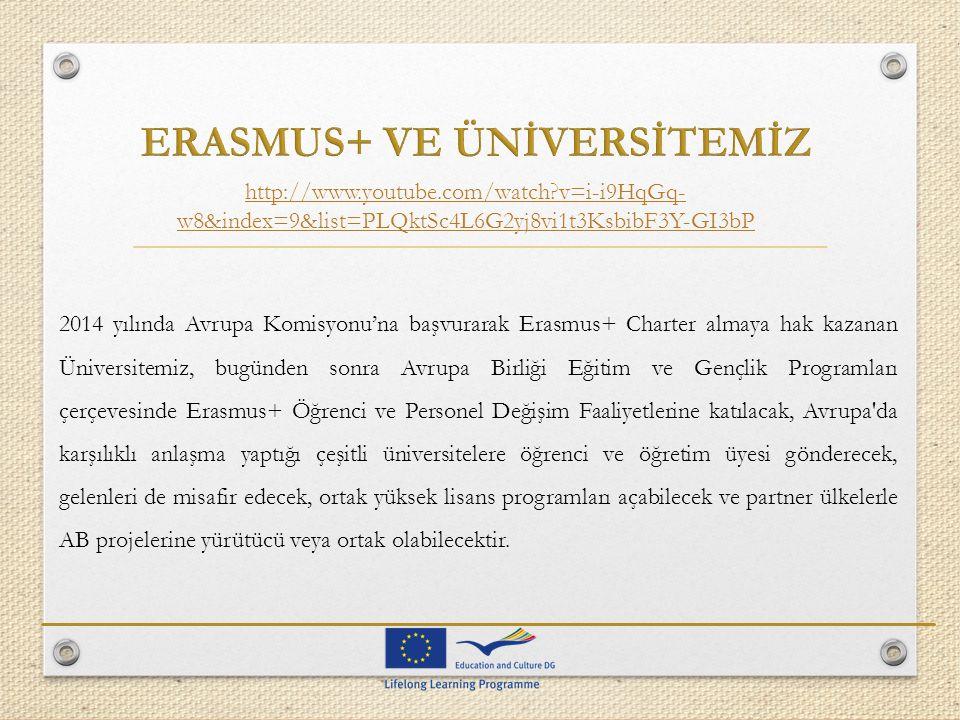 2014 yılında Avrupa Komisyonu'na başvurarak Erasmus+ Charter almaya hak kazanan Üniversitemiz, bugünden sonra Avrupa Birliği Eğitim ve Gençlik Program