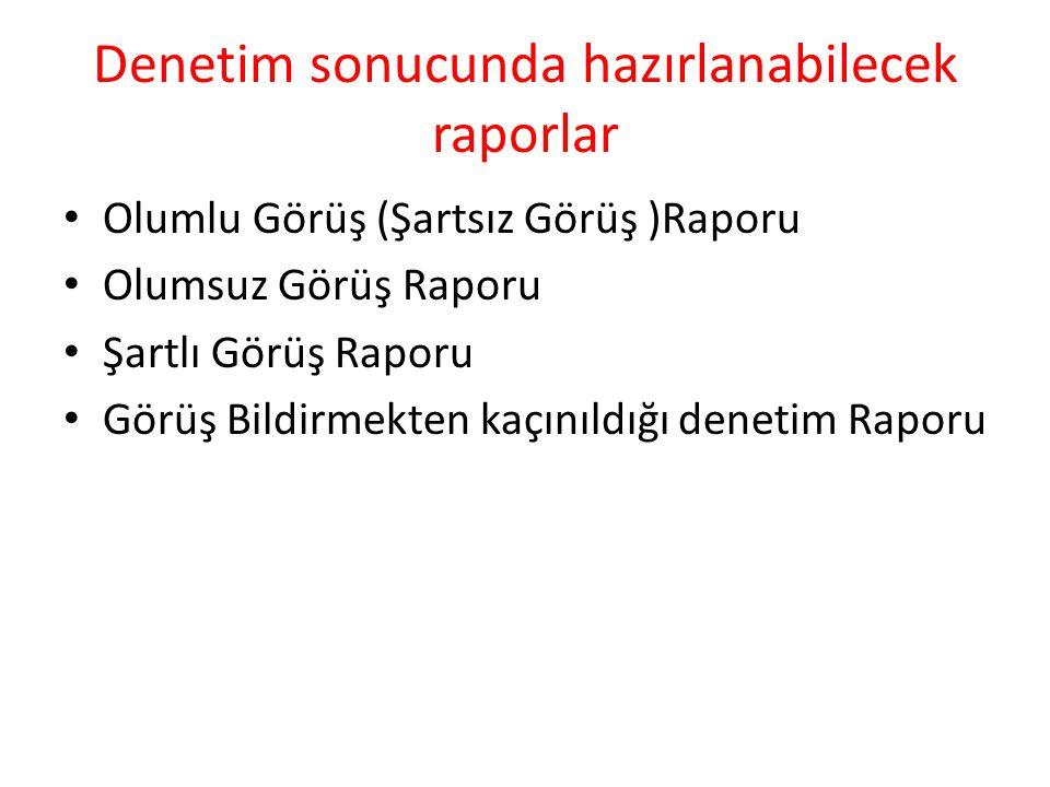 Denetim sonucunda hazırlanabilecek raporlar Olumlu Görüş (Şartsız Görüş )Raporu Olumsuz Görüş Raporu Şartlı Görüş Raporu Görüş Bildirmekten kaçınıldığ