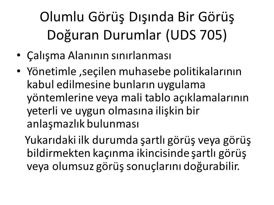 Olumlu Görüş Dışında Bir Görüş Doğuran Durumlar (UDS 705) Çalışma Alanının sınırlanması Yönetimle,seçilen muhasebe politikalarının kabul edilmesine bu